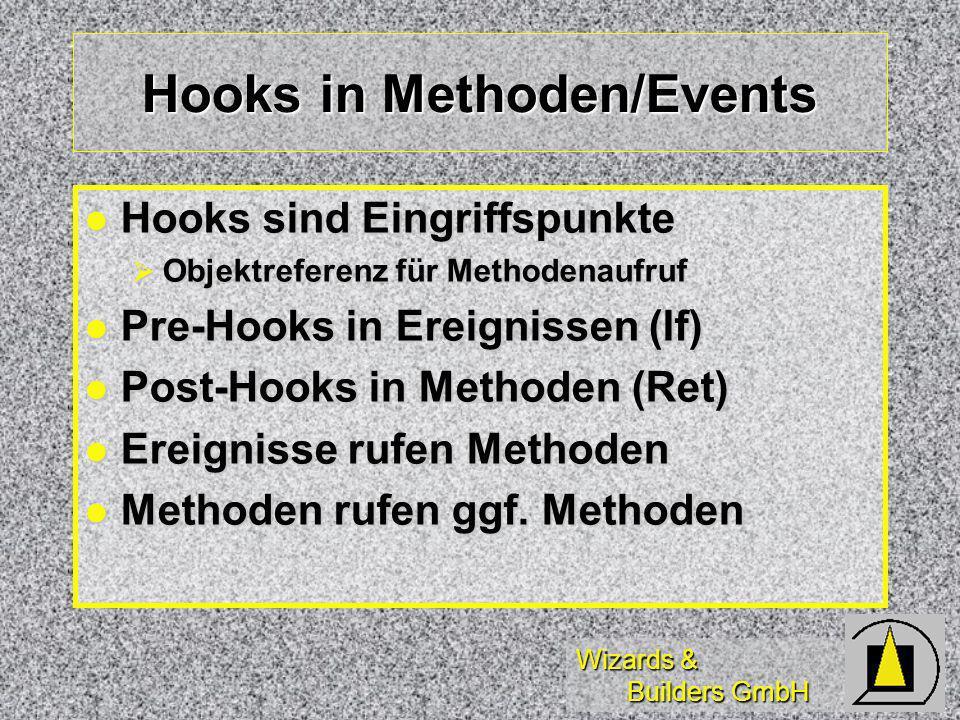 Wizards & Builders GmbH Hooks in Methoden/Events Hooks sind Eingriffspunkte Hooks sind Eingriffspunkte Objektreferenz für Methodenaufruf Objektreferenz für Methodenaufruf Pre-Hooks in Ereignissen (If) Pre-Hooks in Ereignissen (If) Post-Hooks in Methoden (Ret) Post-Hooks in Methoden (Ret) Ereignisse rufen Methoden Ereignisse rufen Methoden Methoden rufen ggf.