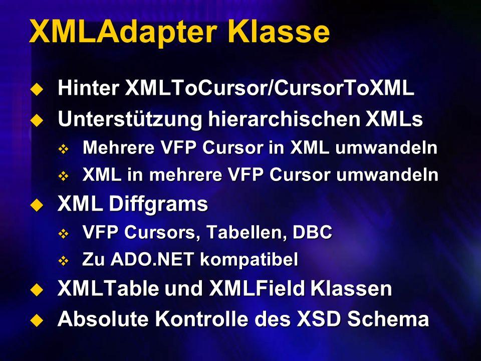 XMLAdapter Klasse Hinter XMLToCursor/CursorToXML Hinter XMLToCursor/CursorToXML Unterstützung hierarchischen XMLs Unterstützung hierarchischen XMLs Mehrere VFP Cursor in XML umwandeln Mehrere VFP Cursor in XML umwandeln XML in mehrere VFP Cursor umwandeln XML in mehrere VFP Cursor umwandeln XML Diffgrams XML Diffgrams VFP Cursors, Tabellen, DBC VFP Cursors, Tabellen, DBC Zu ADO.NET kompatibel Zu ADO.NET kompatibel XMLTable und XMLField Klassen XMLTable und XMLField Klassen Absolute Kontrolle des XSD Schema Absolute Kontrolle des XSD Schema