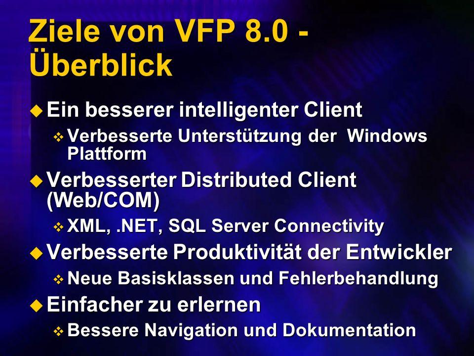 Ziele von VFP 8.0 - Überblick Ein besserer intelligenter Client Ein besserer intelligenter Client Verbesserte Unterstützung der Windows Plattform Verbesserte Unterstützung der Windows Plattform Verbesserter Distributed Client (Web/COM) Verbesserter Distributed Client (Web/COM) XML,.NET, SQL Server Connectivity XML,.NET, SQL Server Connectivity Verbesserte Produktivität der Entwickler Verbesserte Produktivität der Entwickler Neue Basisklassen und Fehlerbehandlung Neue Basisklassen und Fehlerbehandlung Einfacher zu erlernen Einfacher zu erlernen Bessere Navigation und Dokumentation Bessere Navigation und Dokumentation
