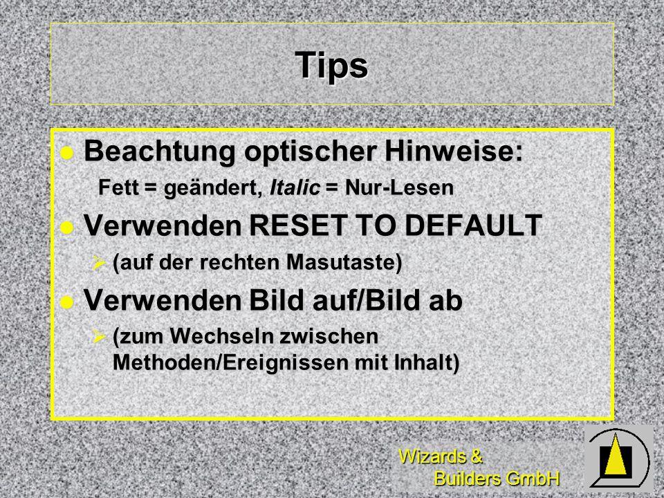Wizards & Builders GmbH Tips Beachtung optischer Hinweise: Beachtung optischer Hinweise: Fett = geändert, Italic = Nur-Lesen Fett = geändert, Italic =
