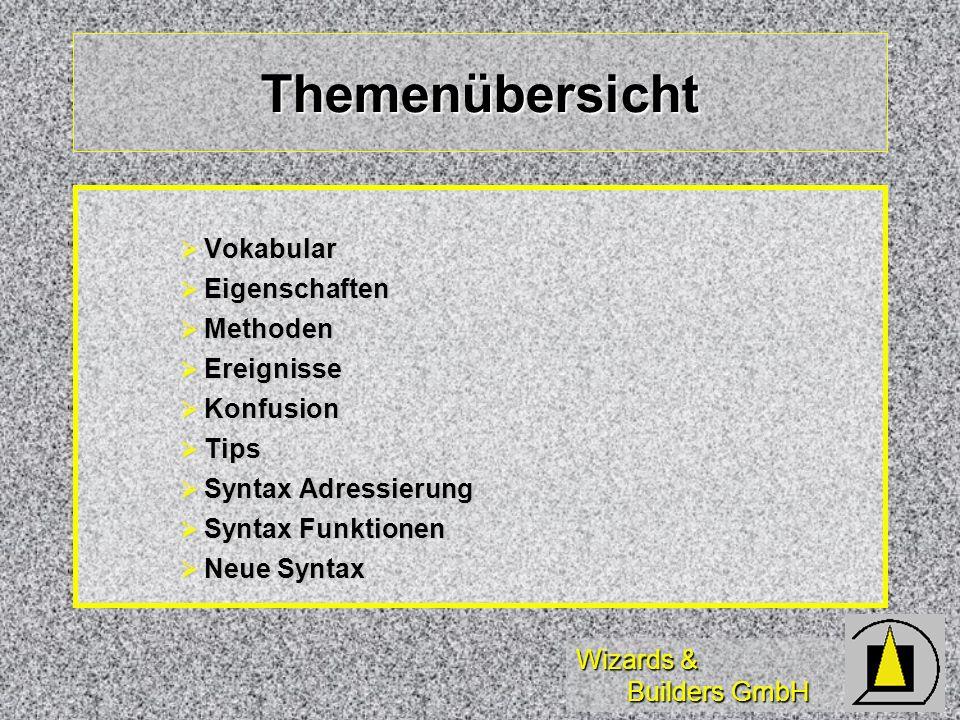 Wizards & Builders GmbH Themenübersicht Vokabular Vokabular Eigenschaften Eigenschaften Methoden Methoden Ereignisse Ereignisse Konfusion Konfusion Ti