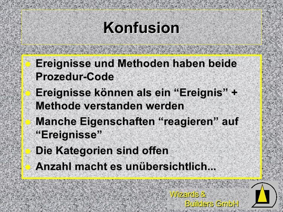 Wizards & Builders GmbH Tips Beachtung optischer Hinweise: Beachtung optischer Hinweise: Fett = geändert, Italic = Nur-Lesen Fett = geändert, Italic = Nur-Lesen Verwenden RESET TO DEFAULT Verwenden RESET TO DEFAULT (auf der rechten Masutaste) (auf der rechten Masutaste) Verwenden Bild auf/Bild ab Verwenden Bild auf/Bild ab (zum Wechseln zwischen Methoden/Ereignissen mit Inhalt) (zum Wechseln zwischen Methoden/Ereignissen mit Inhalt)