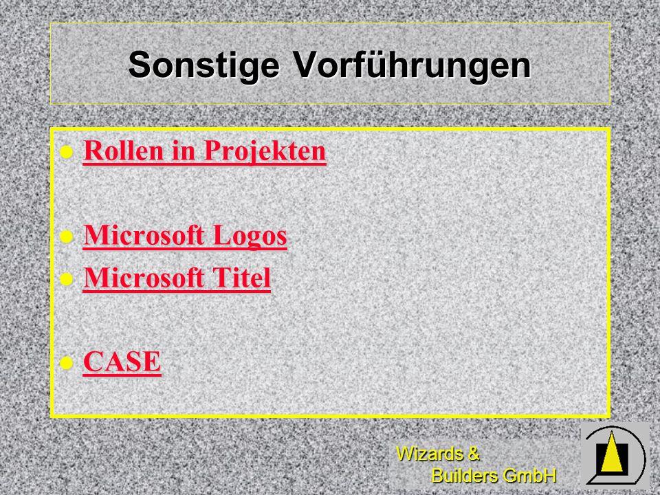 Wizards & Builders GmbH Sonstige Vorführungen Rollen in Projekten Rollen in Projekten Rollen in Projekten Rollen in Projekten Microsoft Logos Microsof