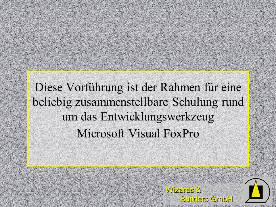 Wizards & Builders GmbH Diese Vorführung ist der Rahmen für eine beliebig zusammenstellbare Schulung rund um das Entwicklungswerkzeug Microsoft Visual