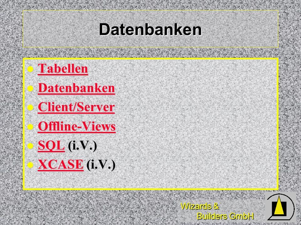 Wizards & Builders GmbH Datenbanken Tabellen Tabellen Tabellen Datenbanken Datenbanken Datenbanken Client/Server Client/Server Client/Server Offline-Views Offline-Views Offline-Views SQL (i.V.) SQL (i.V.) SQL XCASE (i.V.) XCASE (i.V.) XCASE