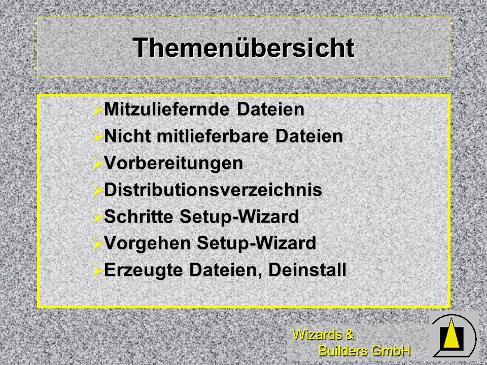 Wizards & Builders GmbH Themenübersicht Mitzuliefernde Dateien Mitzuliefernde Dateien Nicht mitlieferbare Dateien Nicht mitlieferbare Dateien Vorberei