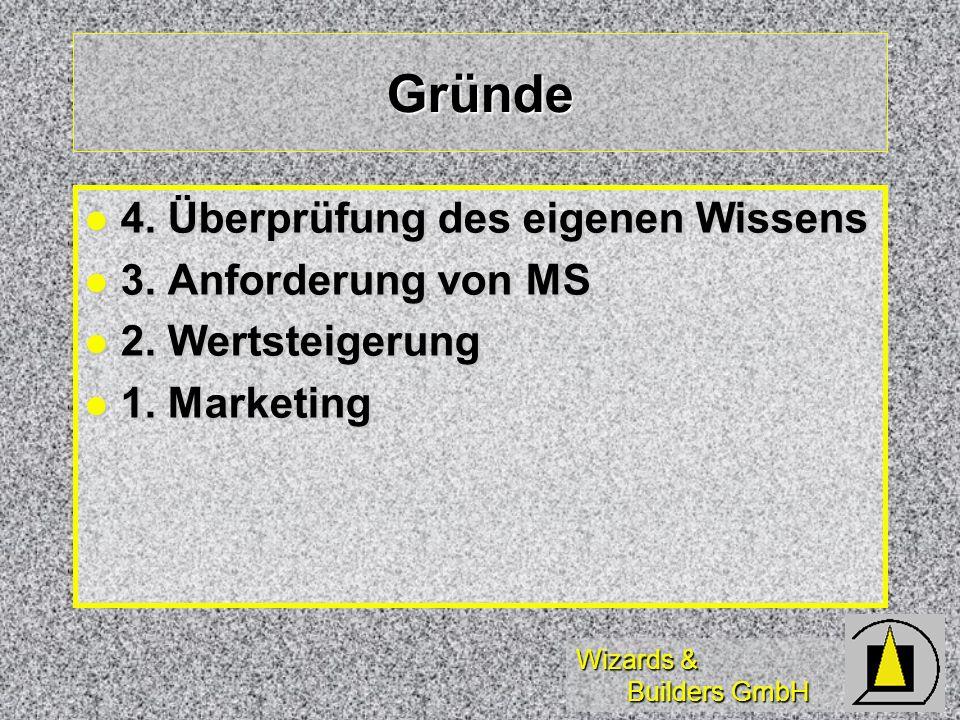 Wizards & Builders GmbH Gründe 4. Überprüfung des eigenen Wissens 4.