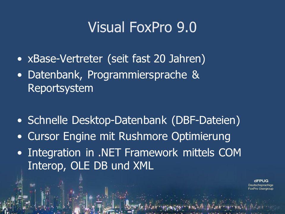 Visual FoxPro 9.0 xBase-Vertreter (seit fast 20 Jahren) Datenbank, Programmiersprache & Reportsystem Schnelle Desktop-Datenbank (DBF-Dateien) Cursor Engine mit Rushmore Optimierung Integration in.NET Framework mittels COM Interop, OLE DB und XML