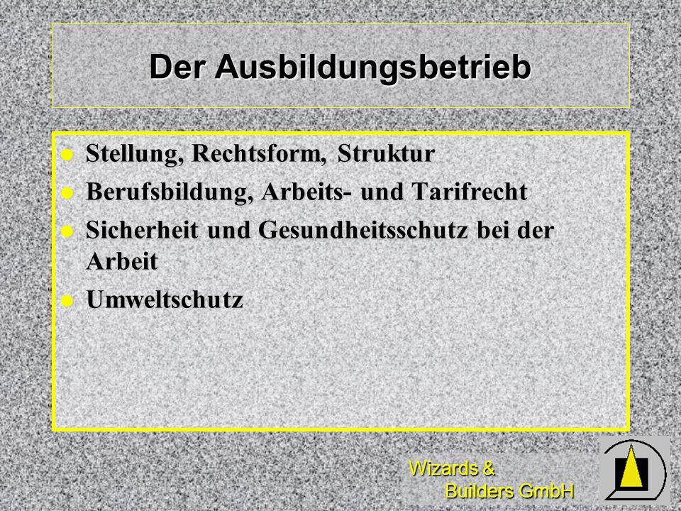 Wizards & Builders GmbH Der Ausbildungsbetrieb Stellung, Rechtsform, Struktur Stellung, Rechtsform, Struktur Berufsbildung, Arbeits- und Tarifrecht Be