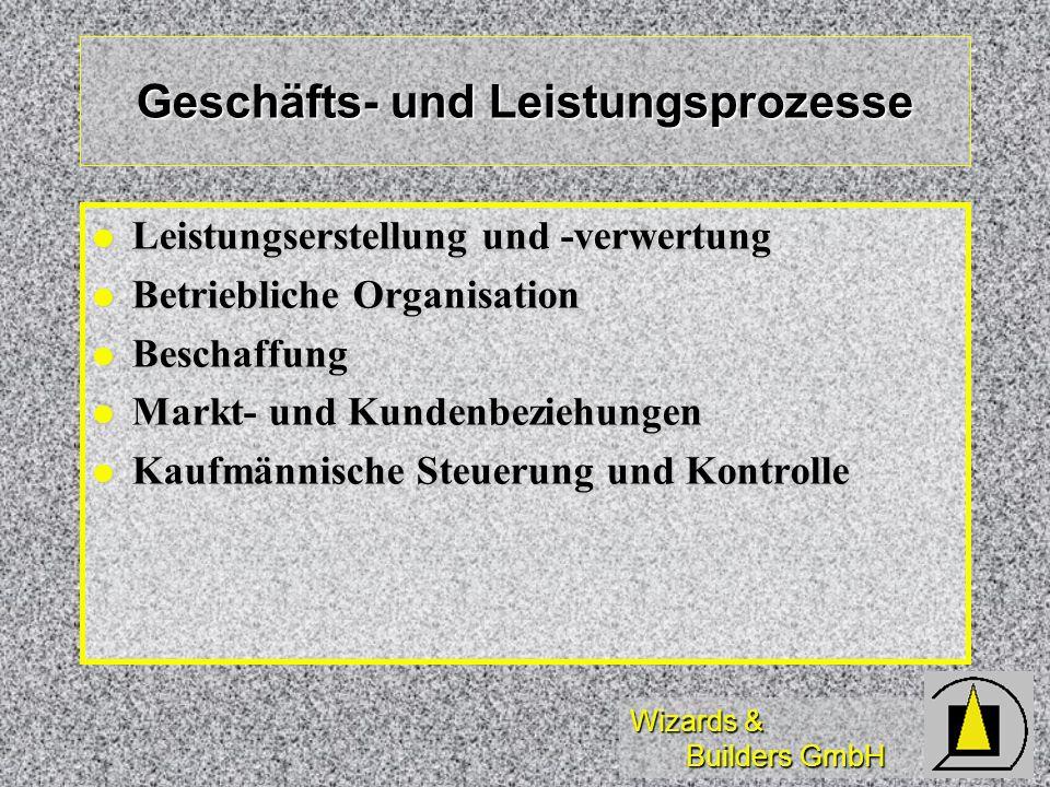 Wizards & Builders GmbH Geschäfts- und Leistungsprozesse Leistungserstellung und -verwertung Leistungserstellung und -verwertung Betriebliche Organisa