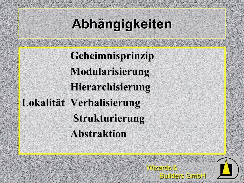 Wizards & Builders GmbH Abhängigkeiten GeheimnisprinzipModularisierungHierarchisierung LokalitätVerbalisierung Strukturierung StrukturierungAbstraktio