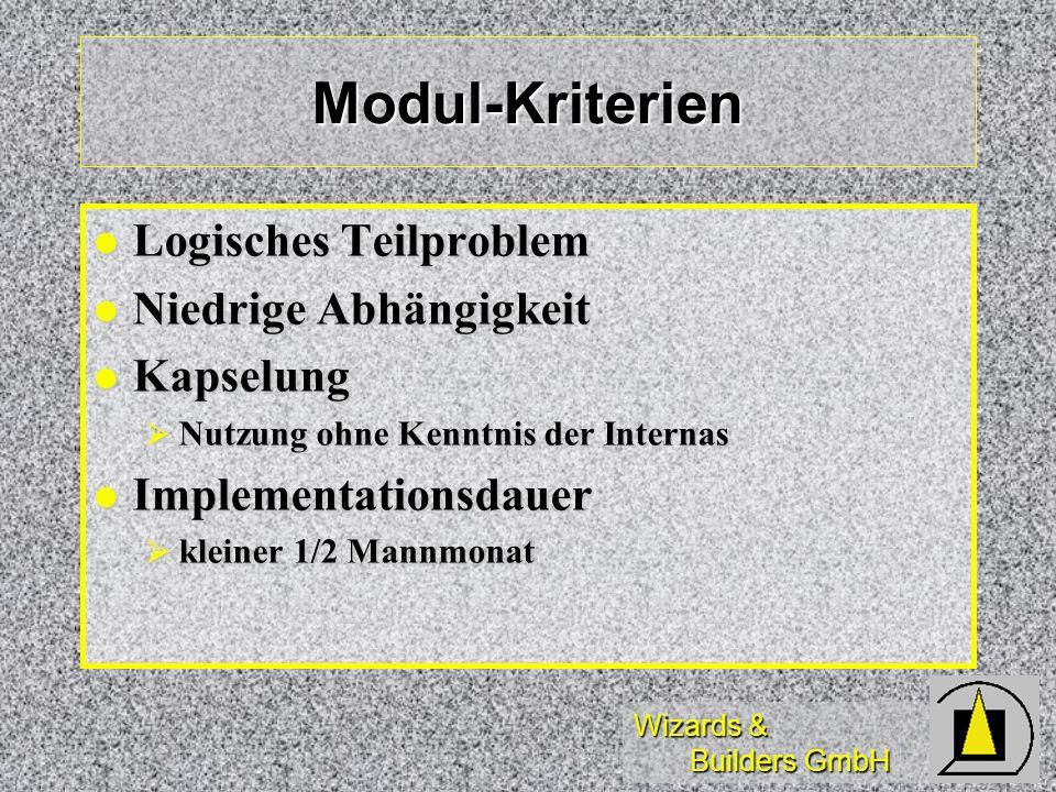 Wizards & Builders GmbH Modul-Kriterien Logisches Teilproblem Logisches Teilproblem Niedrige Abhängigkeit Niedrige Abhängigkeit Kapselung Kapselung Nu
