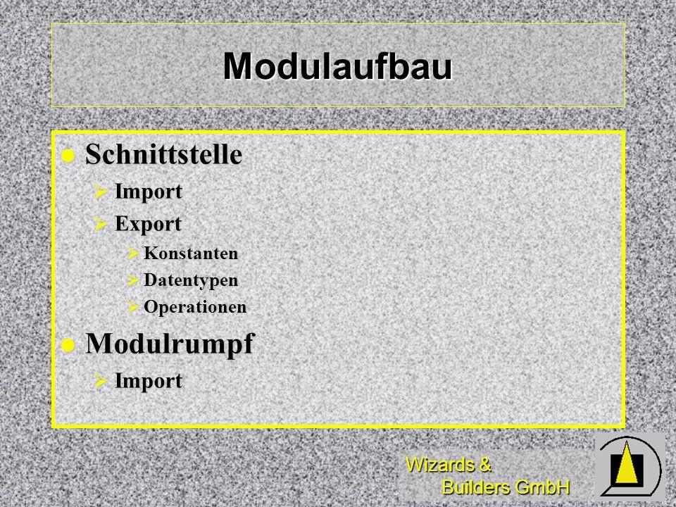 Wizards & Builders GmbH Modulaufbau Schnittstelle Schnittstelle Import Import Export Export Konstanten Konstanten Datentypen Datentypen Operationen Op