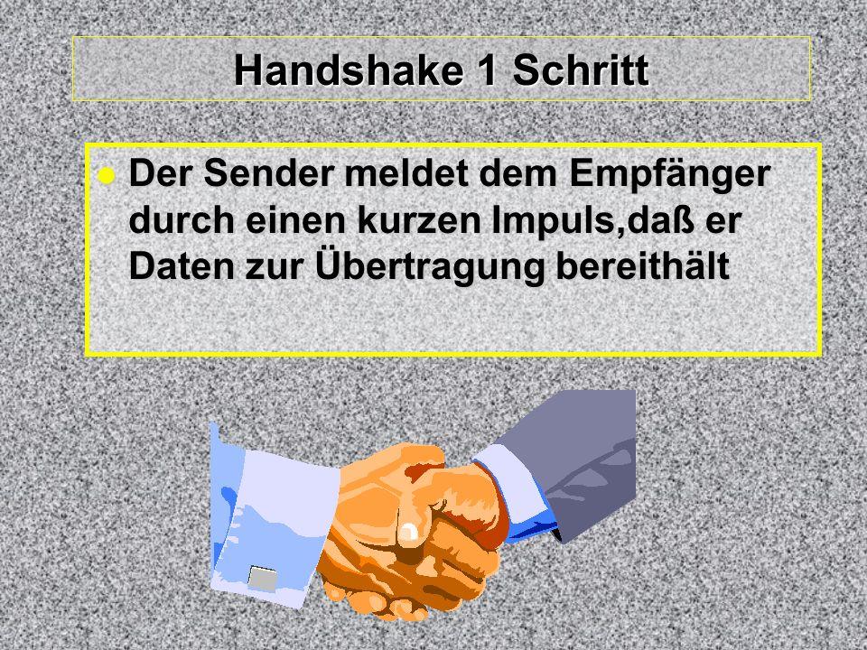 Handshake 1 Schritt Der Sender meldet dem Empfänger durch einen kurzen Impuls,daß er Daten zur Übertragung bereithält Der Sender meldet dem Empfänger