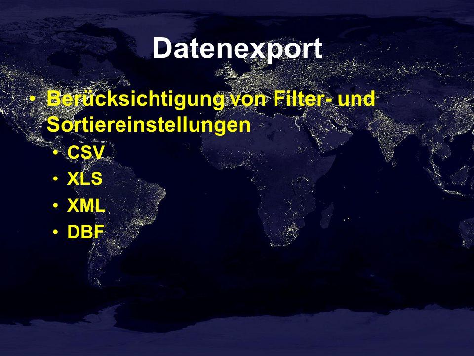 Datenexport Berücksichtigung von Filter- und Sortiereinstellungen CSV XLS XML DBF