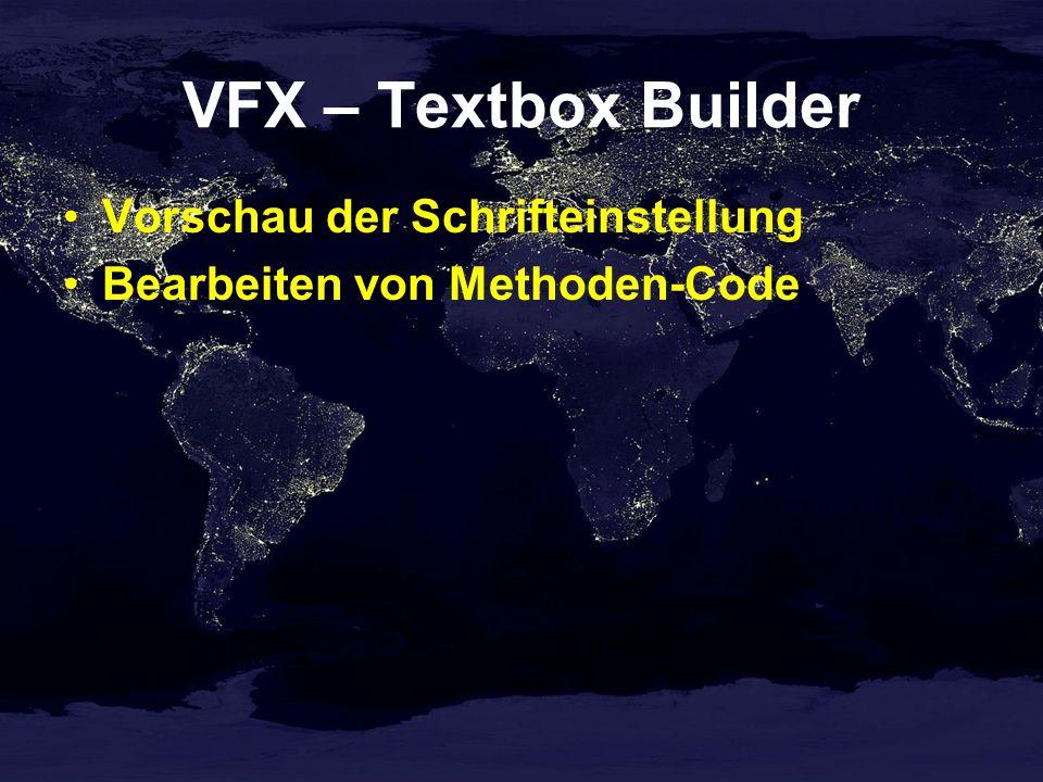 VFX – Textbox Builder Vorschau der Schrifteinstellung Bearbeiten von Methoden-Code