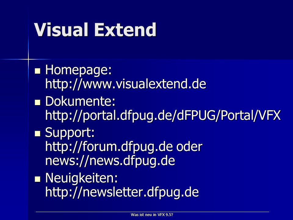 Was ist neu in VFX 9.5.Wer spricht da. Dipl.-Inform.