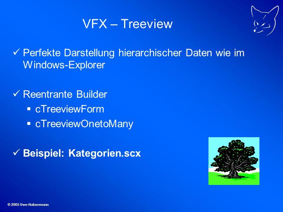 © 2005 Uwe Habermann VFX – Treeview Perfekte Darstellung hierarchischer Daten wie im Windows-Explorer Reentrante Builder cTreeviewForm cTreeviewOnetoM