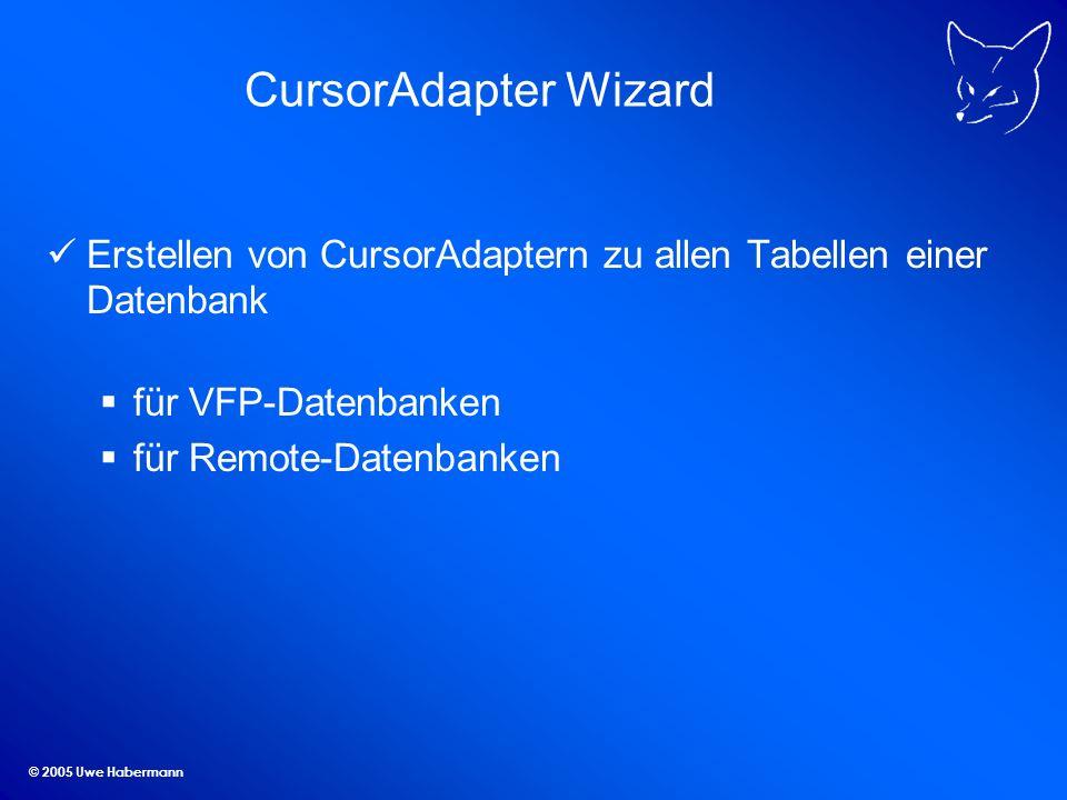 © 2005 Uwe Habermann CursorAdapter Wizard Erstellen von CursorAdaptern zu allen Tabellen einer Datenbank für VFP-Datenbanken für Remote-Datenbanken