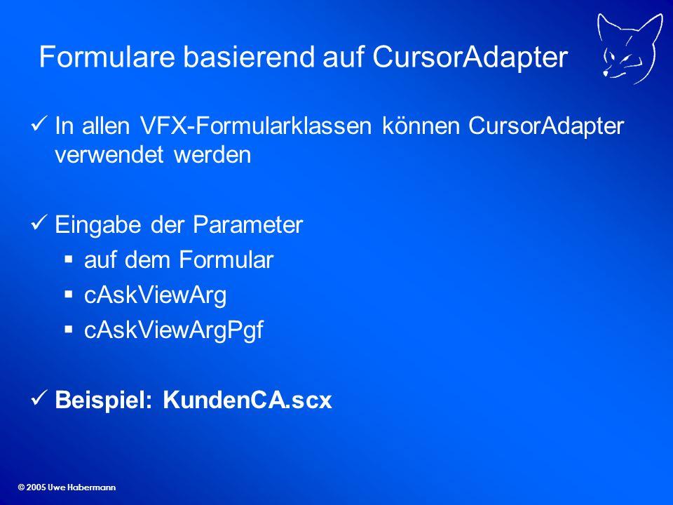© 2005 Uwe Habermann Formulare basierend auf CursorAdapter In allen VFX-Formularklassen können CursorAdapter verwendet werden Eingabe der Parameter au