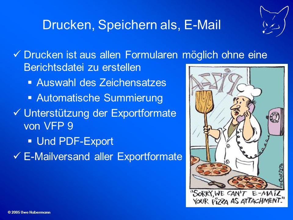 © 2005 Uwe Habermann Drucken, Speichern als, E-Mail Drucken ist aus allen Formularen möglich ohne eine Berichtsdatei zu erstellen Auswahl des Zeichens