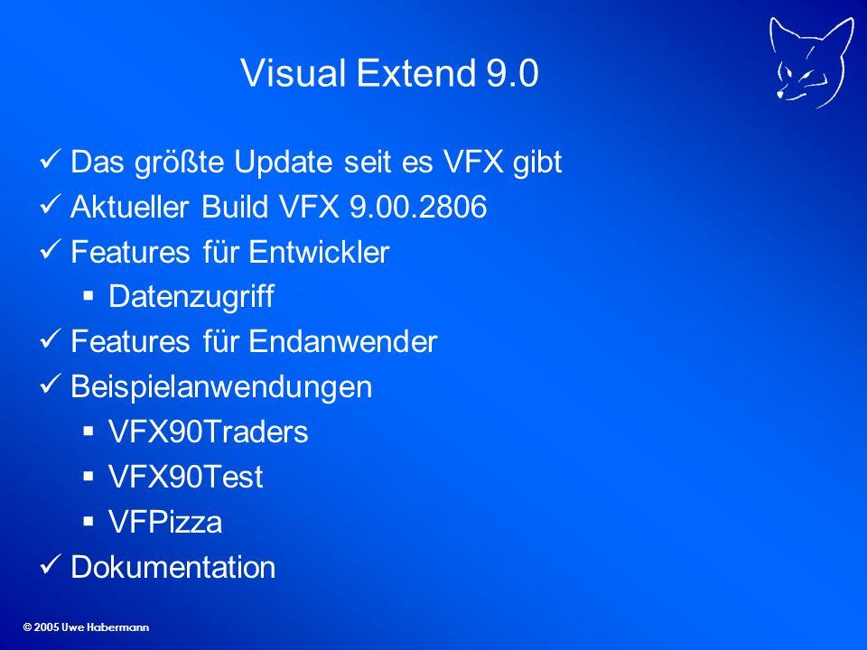 © 2005 Uwe Habermann Visual Extend 9.0 Das größte Update seit es VFX gibt Aktueller Build VFX 9.00.2806 Features für Entwickler Datenzugriff Features