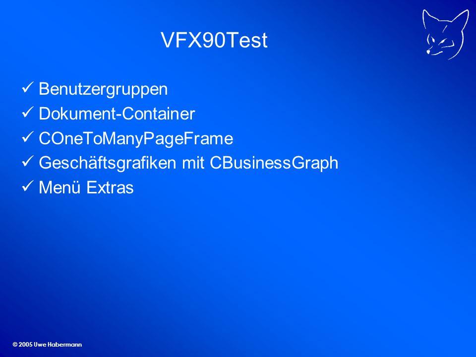 © 2005 Uwe Habermann VFX90Test Benutzergruppen Dokument-Container COneToManyPageFrame Geschäftsgrafiken mit CBusinessGraph Menü Extras