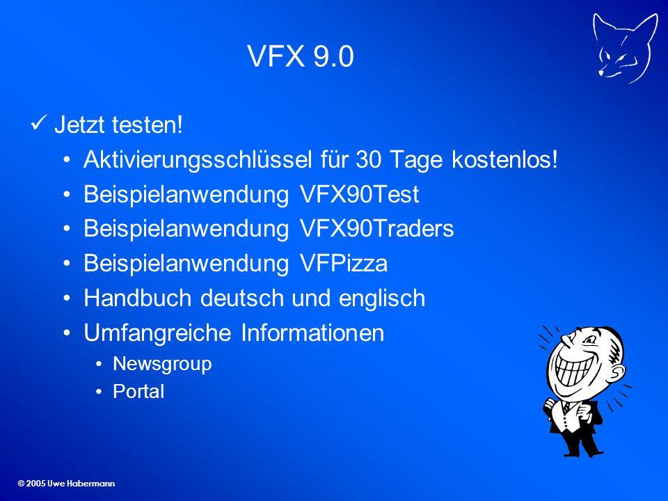 © 2005 Uwe Habermann VFX 9.0 Jetzt testen! Aktivierungsschlüssel für 30 Tage kostenlos! Beispielanwendung VFX90Test Beispielanwendung VFX90Traders Bei