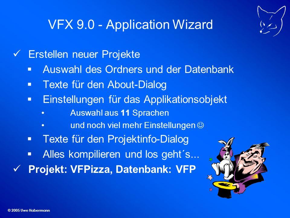 © 2005 Uwe Habermann Die Lösung CursorAdapter Vorteile: Klasse – Vererbung, Eigenschaften, Methoden Einheitlicher Datenzugriff Datenzugriff auf DBC und SQL Server möglich Umschaltbarkeit zur Laufzeit Builder in VFP vorhanden