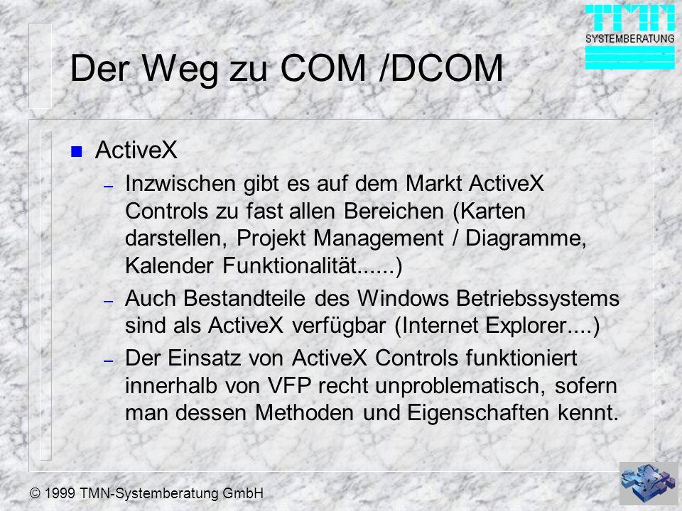 © 1999 TMN-Systemberatung GmbH Der Weg zu COM /DCOM n ActiveX – Inzwischen gibt es auf dem Markt ActiveX Controls zu fast allen Bereichen (Karten dars