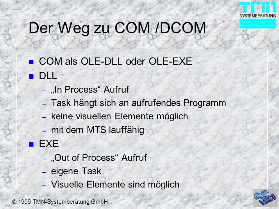 © 1999 TMN-Systemberatung GmbH Der Weg zu COM /DCOM n COM als OLE-DLL oder OLE-EXE n DLL – In Process Aufruf – Task hängt sich an aufrufendes Programm