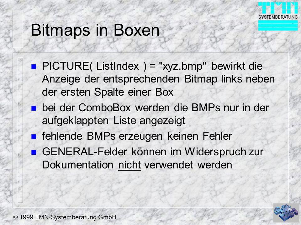 © 1999 TMN-Systemberatung GmbH Bitmaps in Boxen n PICTURE( ListIndex ) = xyz.bmp bewirkt die Anzeige der entsprechenden Bitmap links neben der ersten Spalte einer Box n bei der ComboBox werden die BMPs nur in der aufgeklappten Liste angezeigt n fehlende BMPs erzeugen keinen Fehler n GENERAL-Felder können im Widerspruch zur Dokumentation nicht verwendet werden