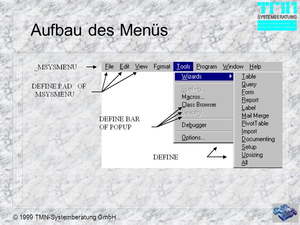 © 1999 TMN-Systemberatung GmbH Aufbau des Menüs