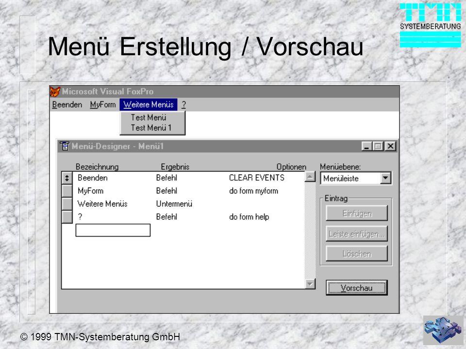 © 1999 TMN-Systemberatung GmbH Menü Erstellung / Vorschau