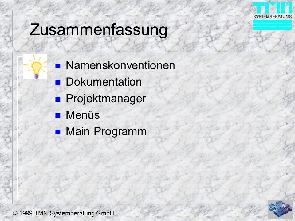 © 1999 TMN-Systemberatung GmbH Zusammenfassung n Namenskonventionen n Dokumentation n Projektmanager n Menüs n Main Programm