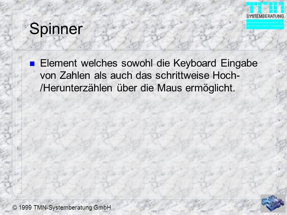 © 1999 TMN-Systemberatung GmbH Spinner n Element welches sowohl die Keyboard Eingabe von Zahlen als auch das schrittweise Hoch- /Herunterzählen über d