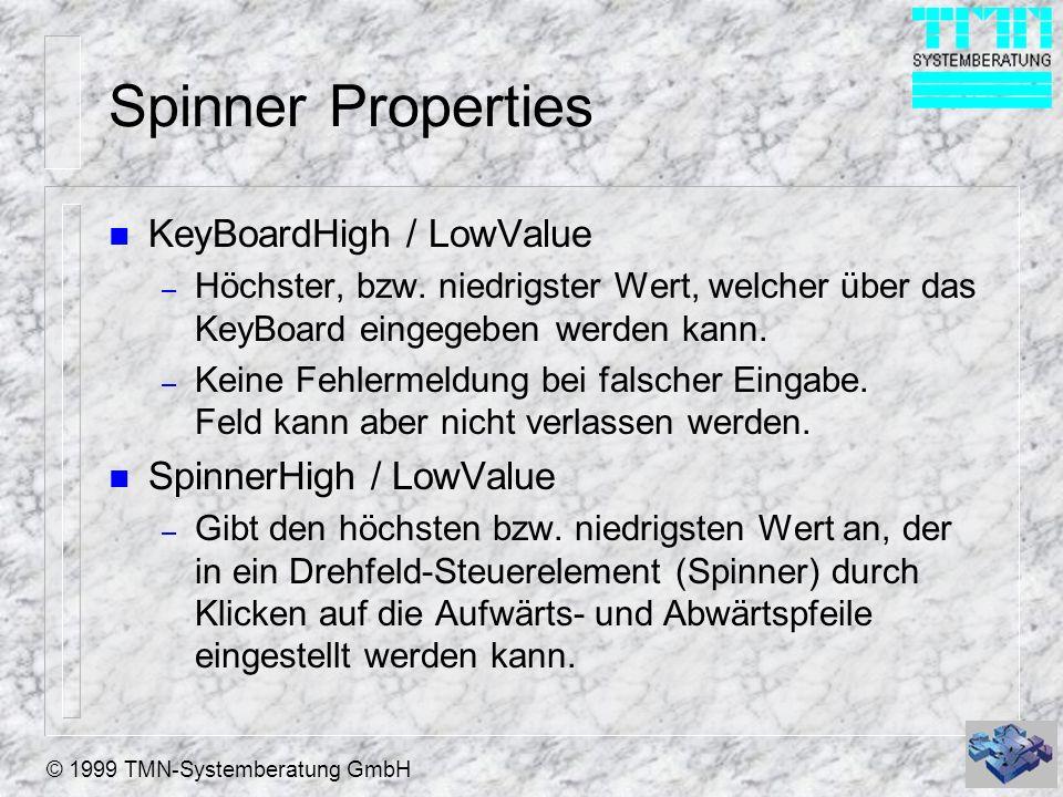 © 1999 TMN-Systemberatung GmbH Spinner Properties n KeyBoardHigh / LowValue – Höchster, bzw. niedrigster Wert, welcher über das KeyBoard eingegeben we