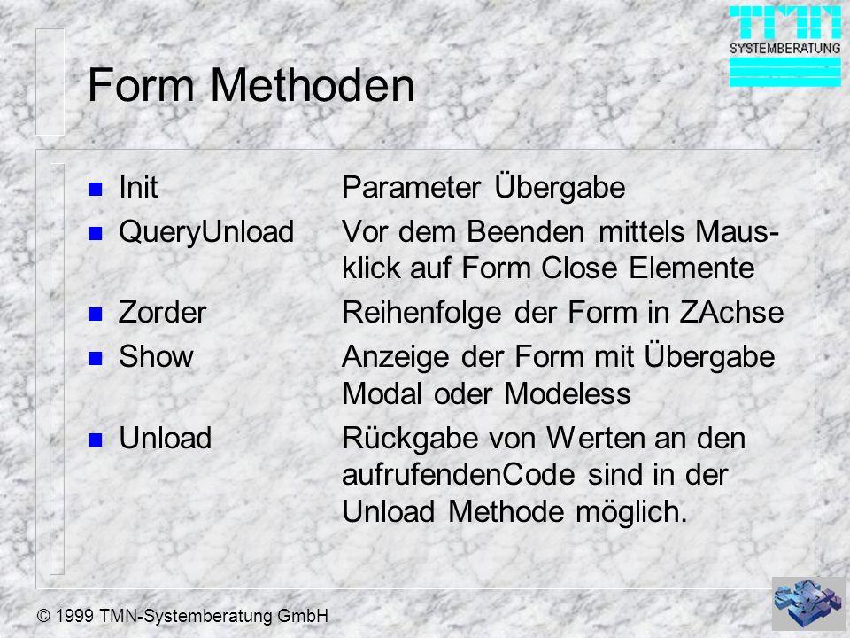 © 1999 TMN-Systemberatung GmbH Form Methoden n InitParameter Übergabe n QueryUnloadVor dem Beenden mittels Maus- klick auf Form Close Elemente n Zorde