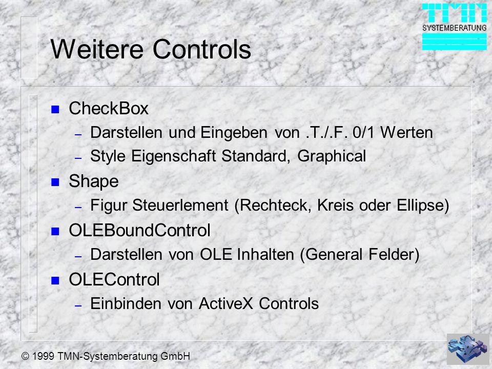 © 1999 TMN-Systemberatung GmbH Weitere Controls n CheckBox – Darstellen und Eingeben von.T./.F. 0/1 Werten – Style Eigenschaft Standard, Graphical n S