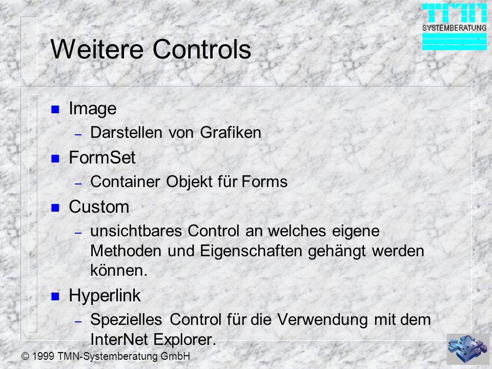 © 1999 TMN-Systemberatung GmbH Weitere Controls n Image – Darstellen von Grafiken n FormSet – Container Objekt für Forms n Custom – unsichtbares Contr