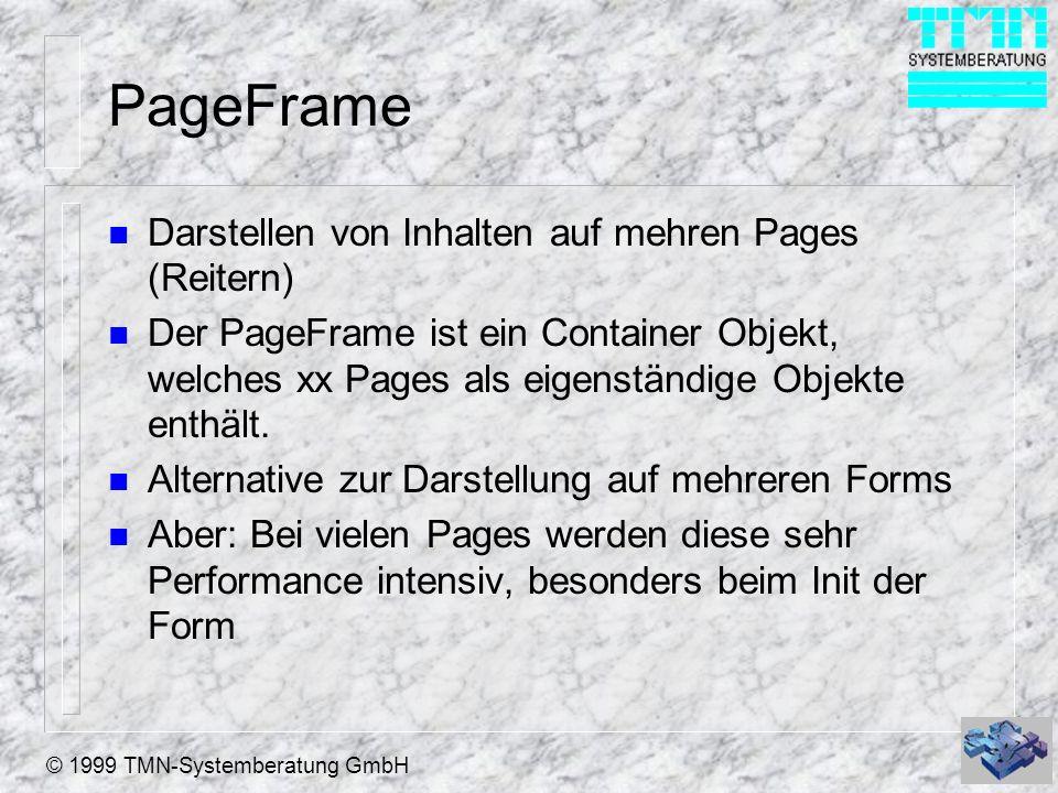 © 1999 TMN-Systemberatung GmbH PageFrame n Darstellen von Inhalten auf mehren Pages (Reitern) n Der PageFrame ist ein Container Objekt, welches xx Pag