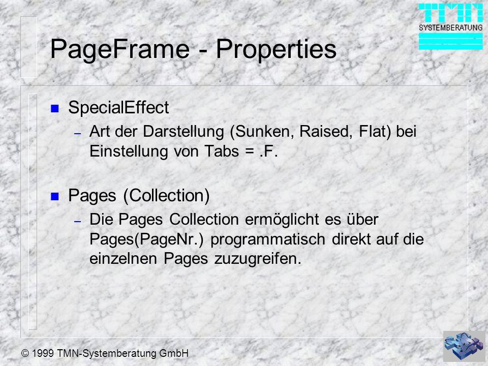 © 1999 TMN-Systemberatung GmbH Pages - Properties n Page Order – Page Order bestimmt die optische sowie die Aktivierungs - Reihenfolge der Pages n ControlCount – Anzahl der Steuerelemente/Controls auf einer Page.