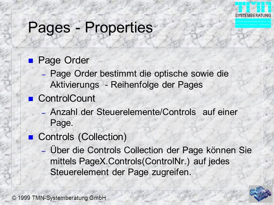 © 1999 TMN-Systemberatung GmbH Pages - Properties n Page Order – Page Order bestimmt die optische sowie die Aktivierungs - Reihenfolge der Pages n Con