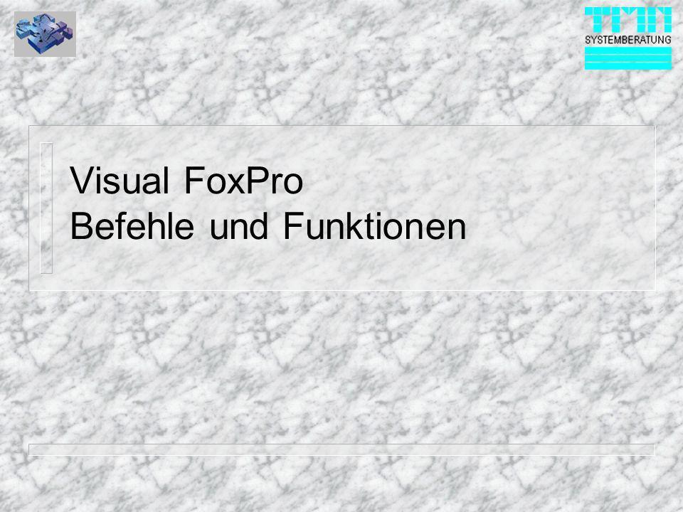 © 1999 TMN-Systemberatung GmbH Prinzipielles n Visual FoxPro ist zu allen alten FoxPro Versionen von den Befehlen her vollständig abwärtskompatibel.