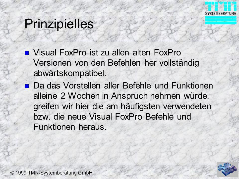 © 1999 TMN-Systemberatung GmbH Prinzipielles n Visual FoxPro ist zu allen alten FoxPro Versionen von den Befehlen her vollständig abwärtskompatibel. n