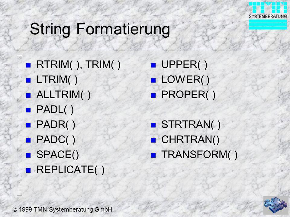 © 1999 TMN-Systemberatung GmbH Datums Funktionen n DATE( ) {31.12.1999} SET CENTURY unabhängig: {^JJJJ-MM-DD} {^1999-12-31} n CTOD() n DTOC() n DTOS() n DMY( ) n MDY( ) n DAY( ) n DOW( ) n CDOW() n WEEK() n MONTH( ) n CMONTH() n YEAR() n GOMONTH( )