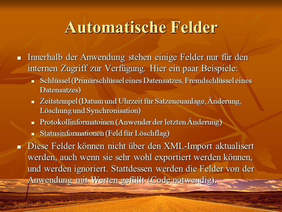 Automatische Felder Innerhalb der Anwendung stehen einige Felder nur für den internen Zugriff zur Verfügung. Hier ein paar Beispiele: Innerhalb der An