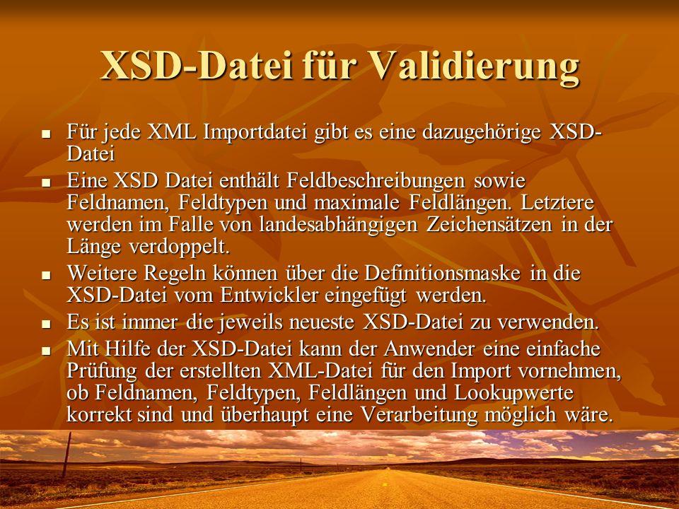 XSD-Datei für Validierung Für jede XML Importdatei gibt es eine dazugehörige XSD- Datei Für jede XML Importdatei gibt es eine dazugehörige XSD- Datei Eine XSD Datei enthält Feldbeschreibungen sowie Feldnamen, Feldtypen und maximale Feldlängen.
