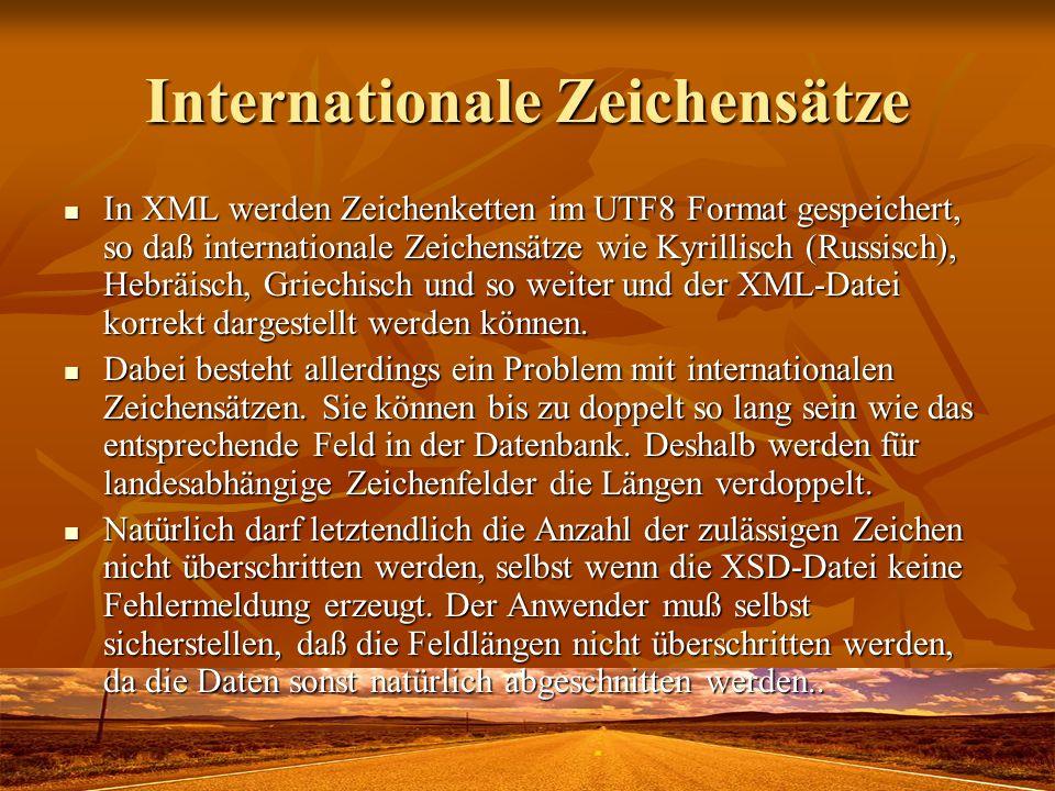 Internationale Zeichensätze In XML werden Zeichenketten im UTF8 Format gespeichert, so daß internationale Zeichensätze wie Kyrillisch (Russisch), Hebr