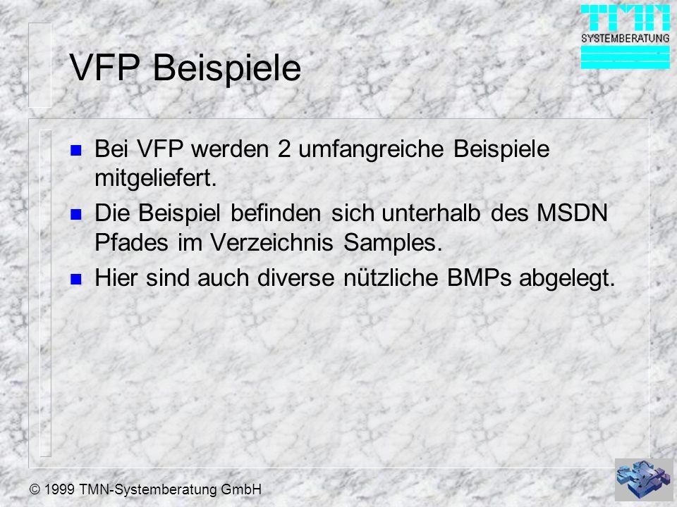 © 1999 TMN-Systemberatung GmbH VFP Beispiele n Bei VFP werden 2 umfangreiche Beispiele mitgeliefert.